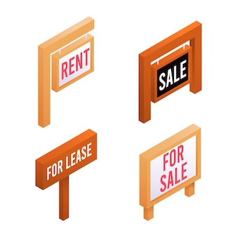 Collection de signes de vente de chantier isométrique