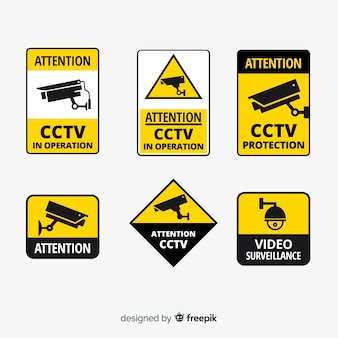 Collection de signes de vidéosurveillance moderne avec un design plat