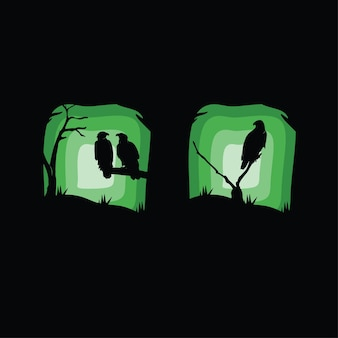 Collection de silhouette d'aigle