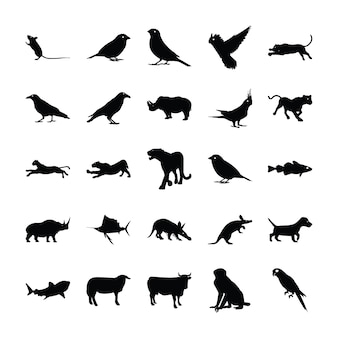 Collection de silhouette d'animaux
