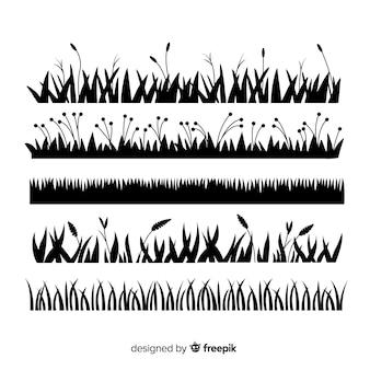 Collection de silhouette de bordure d'herbe isolée