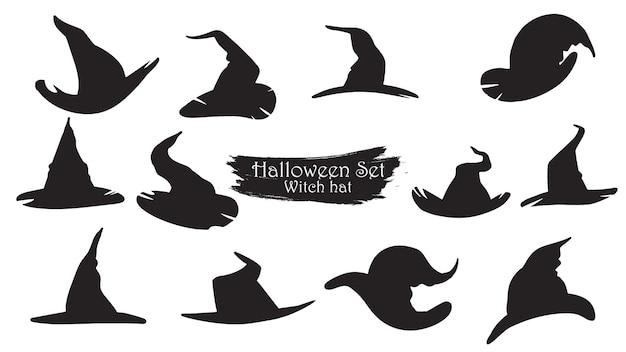 Collection de silhouette de chapeaux de sorcière effrayants d'halloween