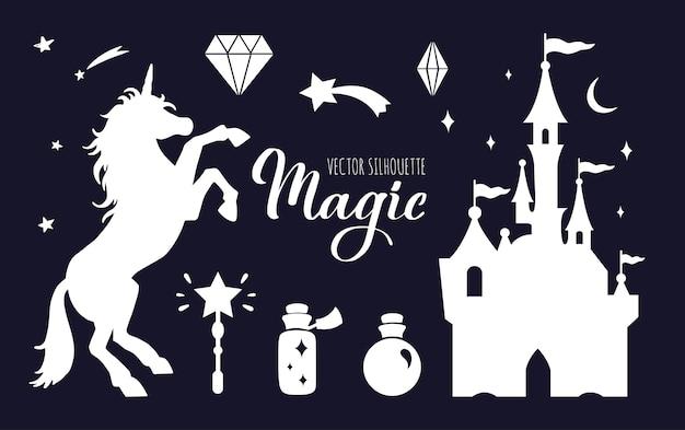 Collection de silhouette de conte de fées avec licorne et château