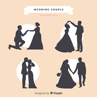 Collection de silhouette de couple de mariage
