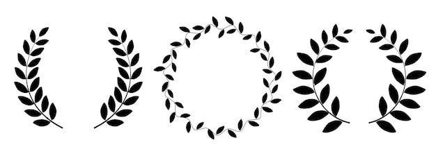 Collection de silhouette de couronne de laurier sur fond blanc.