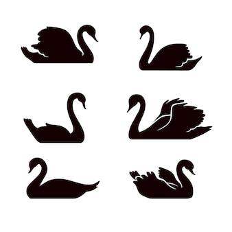 Collection de silhouette de cygne