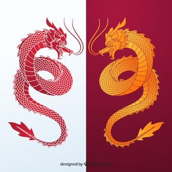 Collection de silhouette de dragon chinois traditionnel