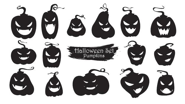 Collection silhouette effrayante de citrouilles d'halloween