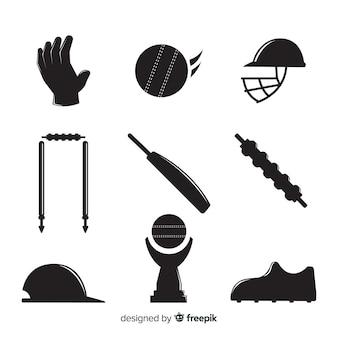 Collection de silhouette éléments de cricket