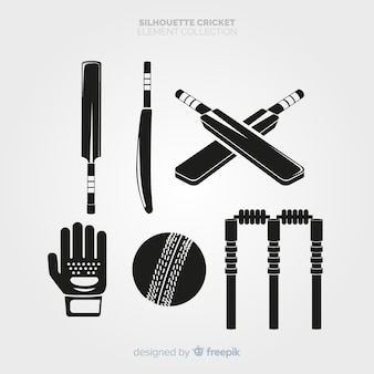 Collection de silhouette éléments de cricket