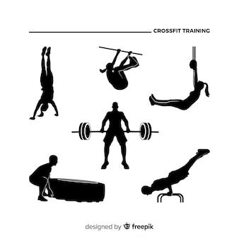Collection de silhouette de formation de femme crossfit