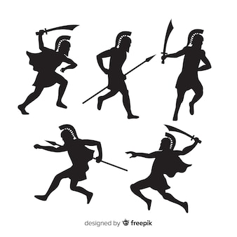 Collection de silhouette de guerrier spartiate