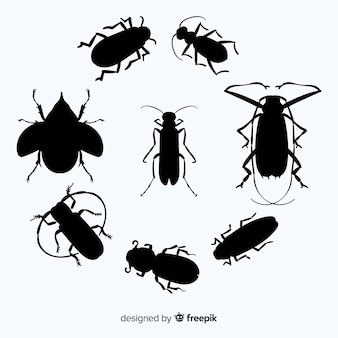 Collection de silhouette d'insecte plat