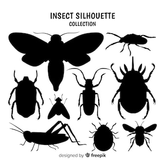 Collection de silhouette d'insecte