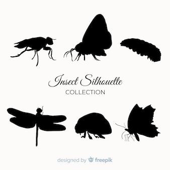 Collection de silhouette d'insecte