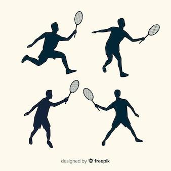 Collection de silhouette de joueur de badminton plat