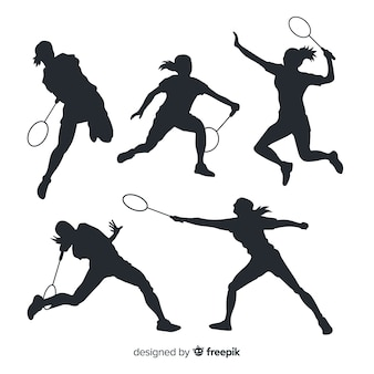 Collection de silhouette de joueur de badminton plat
