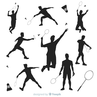 Collection de silhouette de joueur de badminton