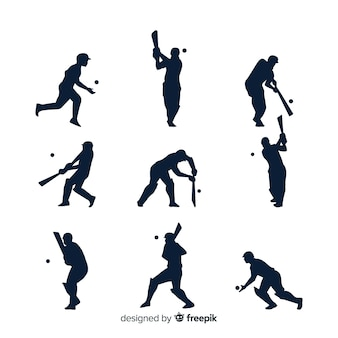 Collection de silhouette de joueur de cricket