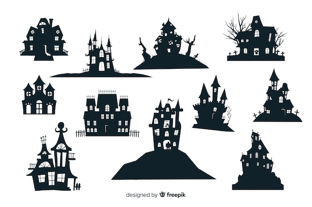Collection de silhouette de maison hantée halloween