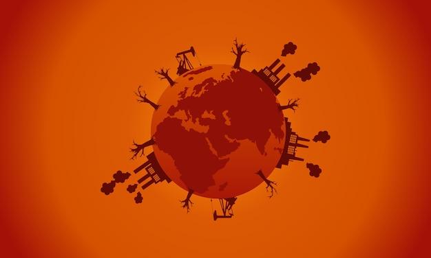 Collection de silhouette mondiale de mauvais environnement