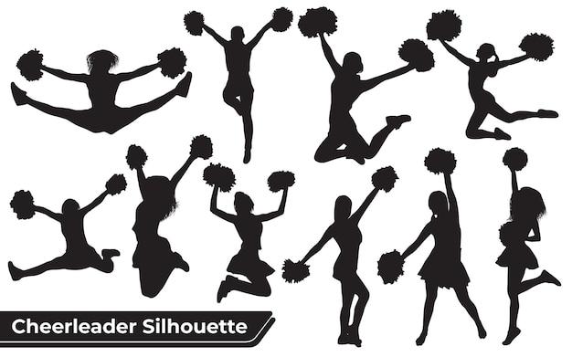 Collection de silhouette de pom-pom girl dans différentes positions