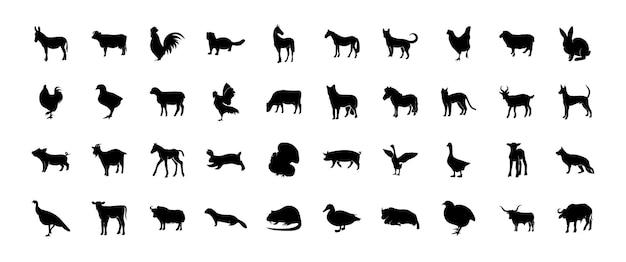 Collection de silhouettes d'animaux de compagnie