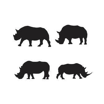 Collection de silhouettes d'animaux rhinocéros