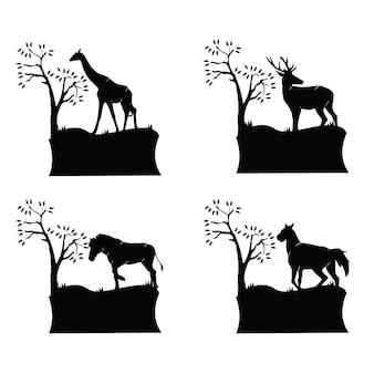 Collection de silhouettes d'animaux