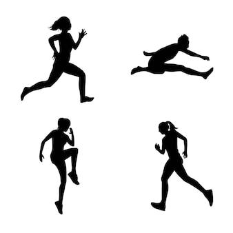 Une Collection De Silhouettes D'athlètes De Course Vecteur Premium