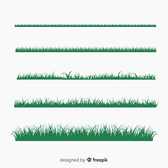 Collection de silhouettes de bordure d'herbe verte