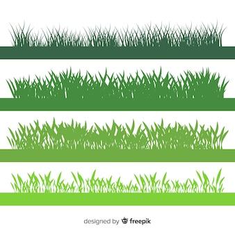 Collection de silhouettes de bordure d'herbe verte