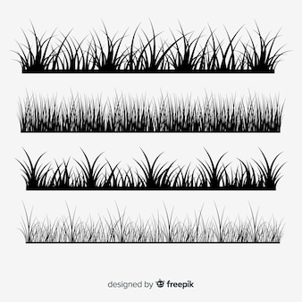 Collection de silhouettes de bordure d'herbe