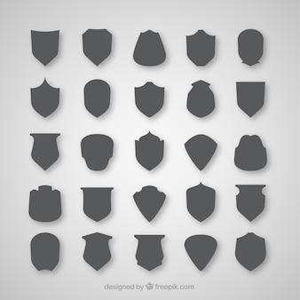 Collection de silhouettes de bouclier gris