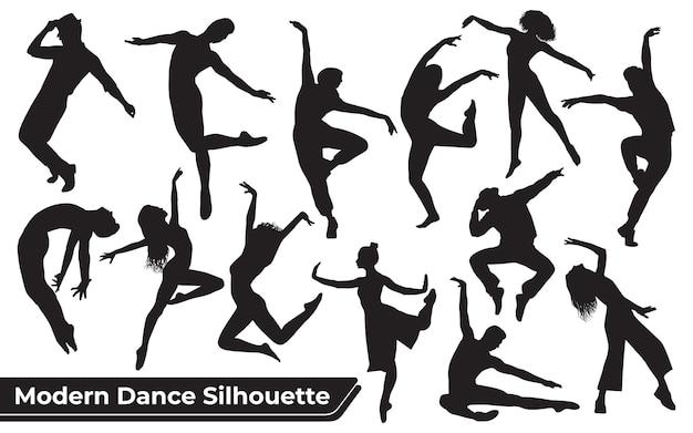 Collection de silhouettes de danse moderne femme dans différentes poses