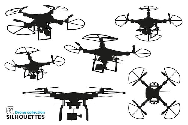 Collection de silhouettes de drones isolés dans différentes vues. détails élevés. ressources graphiques.