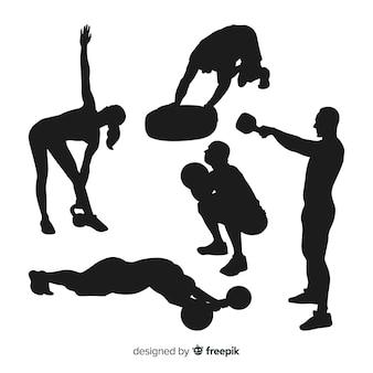 Collection de silhouettes d'entraînement crossfit