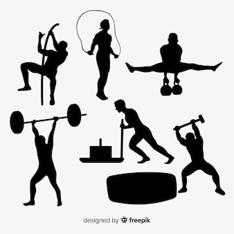 Collection de silhouettes d'entraînement crossfit