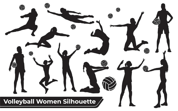 Collection de silhouettes de femme de joueur de volley-ball dans différentes poses