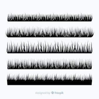Collection de silhouettes de frontière d'herbe noire
