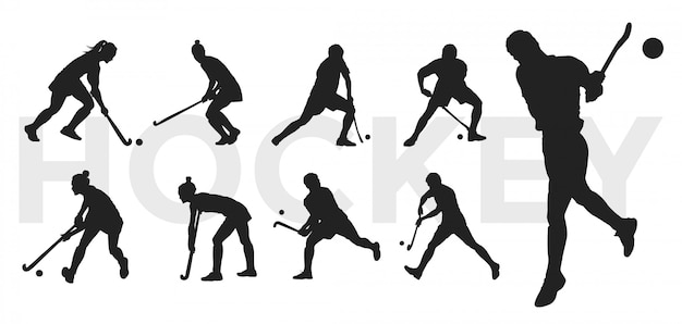 Collection de silhouettes de hockey.
