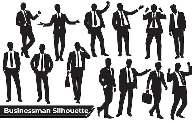 Collection de silhouettes d'homme d'affaires dans des poses différentes
