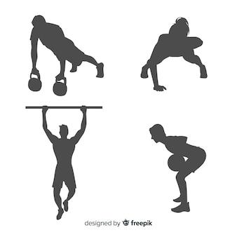 Collection de silhouettes homme et femme formation crossfit
