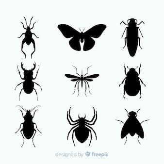 Collection de silhouettes d'insectes plats