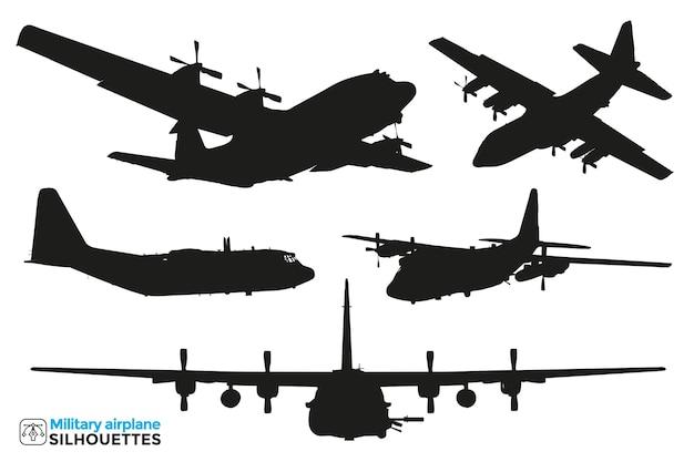 Collection de silhouettes isolées d'avions militaires dans différentes vues.