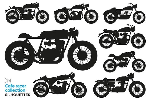 Collection de silhouettes isolées de motos de café racer