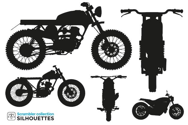 Collection de silhouettes isolées de motos scrambler dans différentes vues