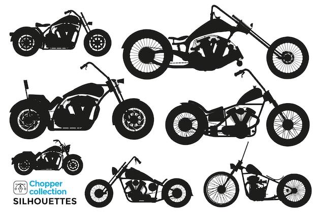 Collection de silhouettes isolées de motos