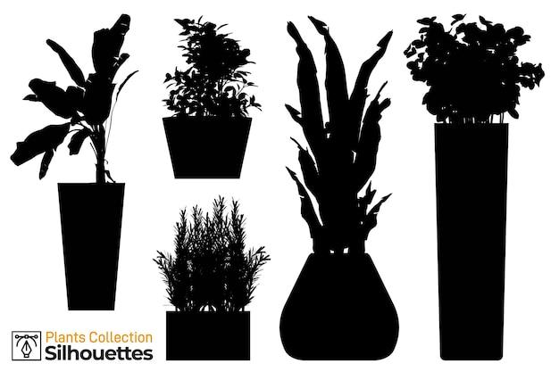 Collection de silhouettes isolées de plantes et d'arbres dans des pots de jardin