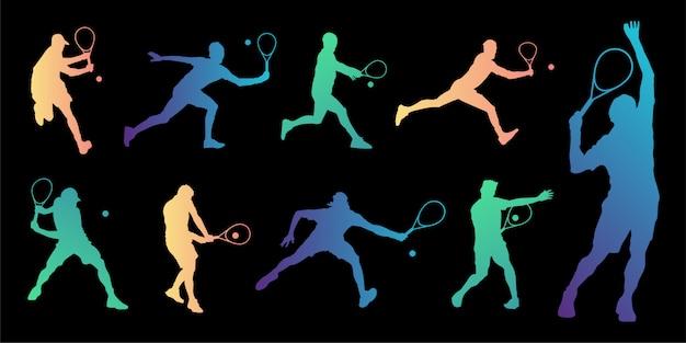 Collection de silhouettes de joueur de tennis.